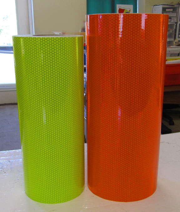 fluorescent lime and orange reflective